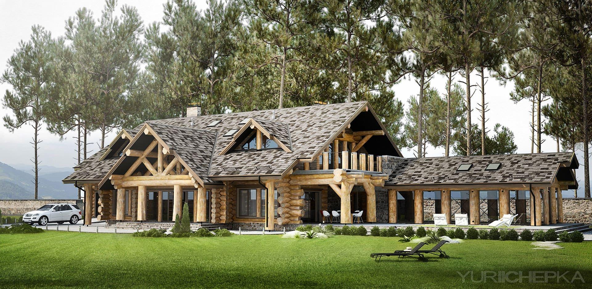 Будинок з дикого брусу діаметром 45 см. Загальна площа 720 м.кв.